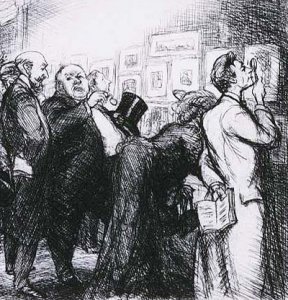 John Sloan, Connoisseurs of Prints (detail), etching, 1905, The Phillips Collection, Washington DC