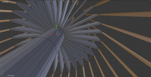 Figure 3. Blender prototype of a navigable 3d interface for exploring topic model data. In this view, each topic is represented along one of the 40 ribbons extending from the central hub, and the flow of 'source time' is pointed towards the distance. More modeling is necessary to continue to develop the idea, changing each ribbon to an 'area graph' of sorts whose changing distance to the center is based on the topic model weight at that time, and whose outer surface contains media (audio/video/images/source documents) representative of the documents, topics, and times in question, and which come into greater 'focus' as the user moves closer to that topic.